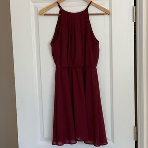 Wine-Colored Simple Dress